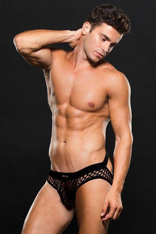Black Modern Fishnet Open Back Brief-Tasteful Desires Adult Shop