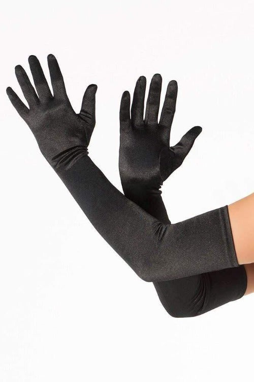 Gloves Elbow Length Black Satin-Tasteful Desires Adult Shop