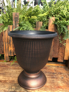 "14"" Warm Copper Vertical Urn"