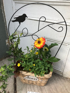 Basket and Wire Planter with Bird