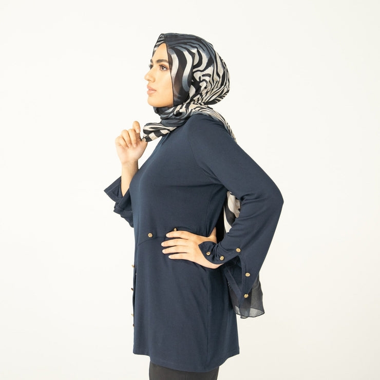 Navy Asymmetrical Button Tunic