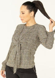 Houndstooth Tie-Front Blouse
