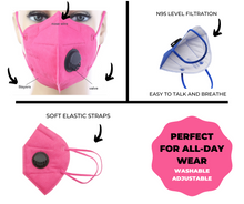 Load image into Gallery viewer, Color KN95 Respirator Valve Masks