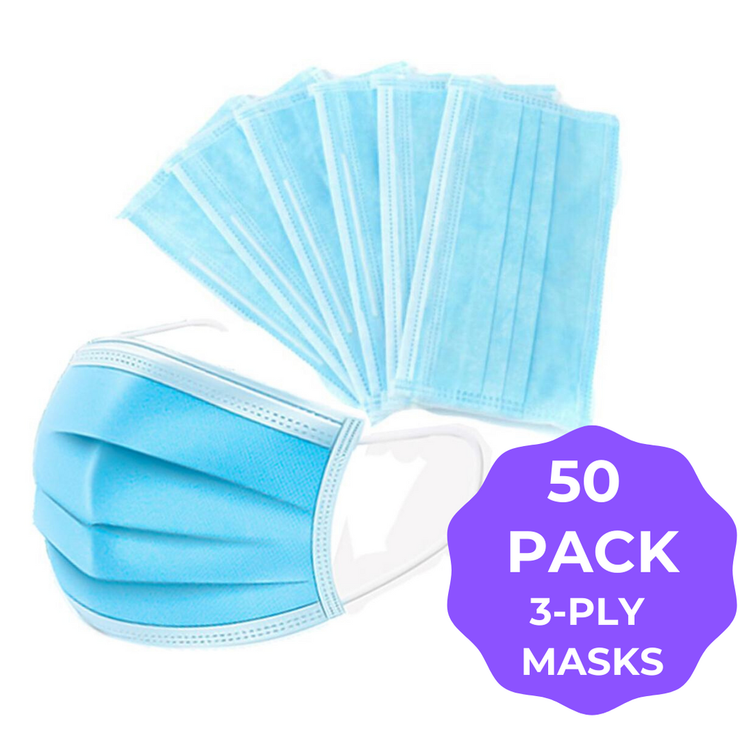 Blue 3ply Face Masks - 50 PACK