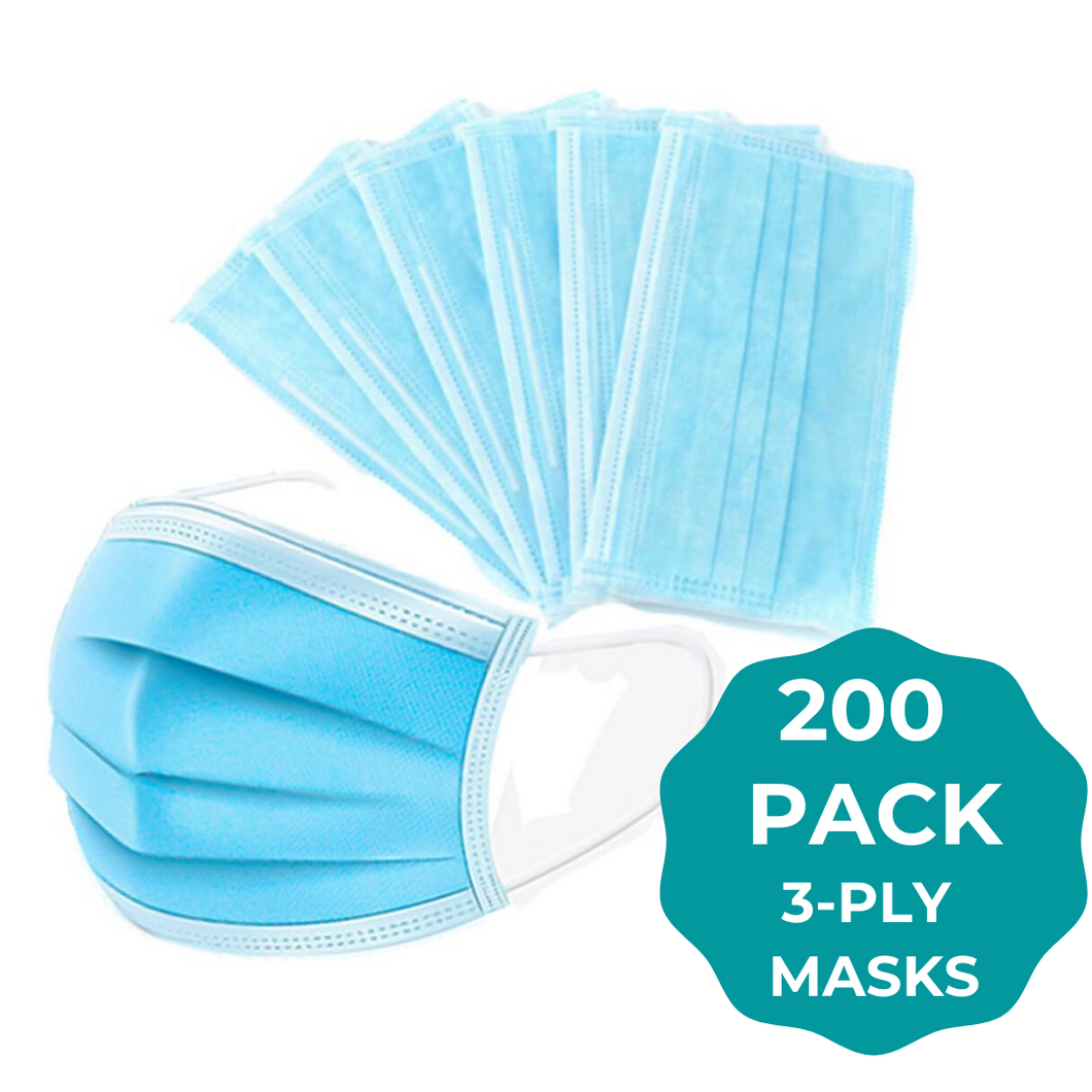 Blue 3ply Face Masks - 200 PACK