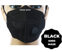 Load image into Gallery viewer, Black KN95 Respirator Valve Mask