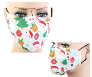 Christmas Tree Print Cotton Mask w/ Filter