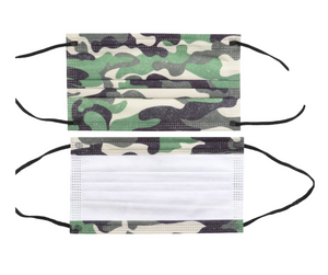 Camouflage Print Disposable Face Mask - 20 PACK