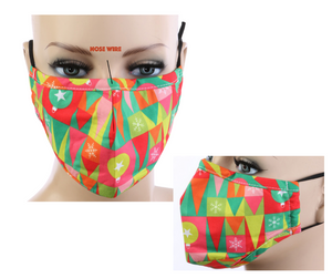 Ornaments Christmas Print Cotton Mask w/ Filter