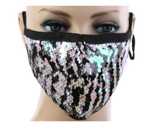 Load image into Gallery viewer, Black and White Sequin Mask w/ Filter