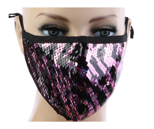 Black and Pink Sequin Mask w/ Filter