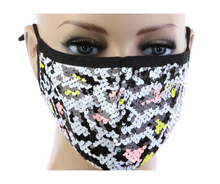Load image into Gallery viewer, White Cheetah Print Sequin Mask w/ Filter