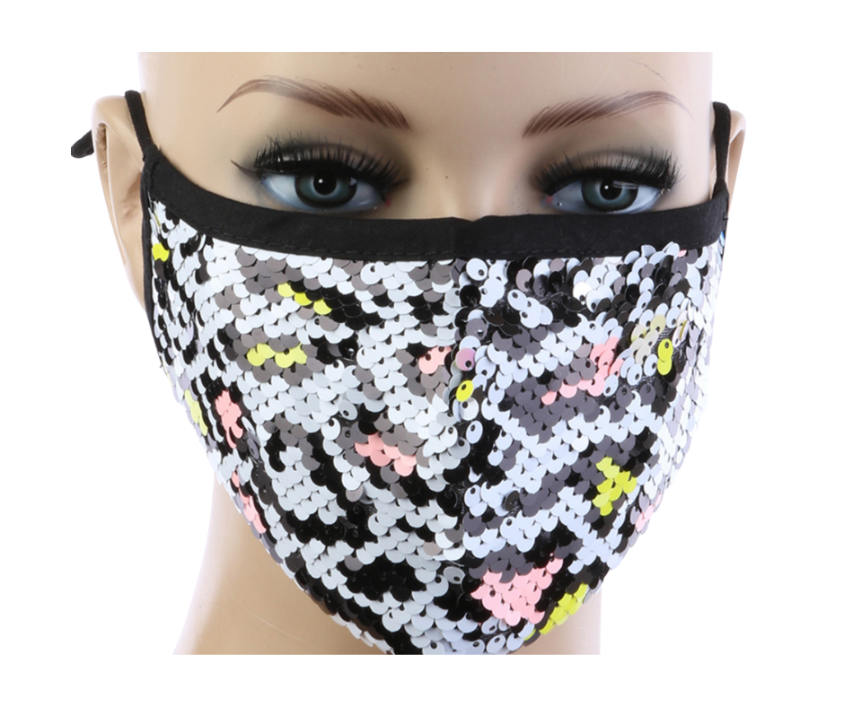 White Cheetah Print Sequin Mask w/ Filter