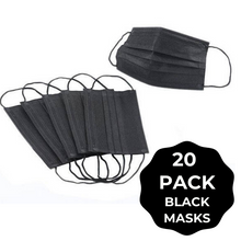 Load image into Gallery viewer, Black Face Mask - 20 PACK