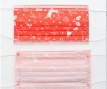 Load image into Gallery viewer, Red Christmas Disposable Face Masks - 20 PACK