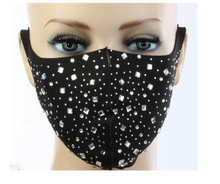 Load image into Gallery viewer, New! Black Crystal Mask