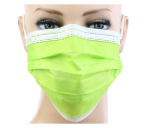 Neon Yellow 3Ply Face Masks - 20 PACK