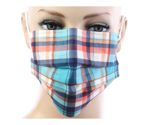 Dark Blue Plaid Print Disposable Face Masks - 20 PACK