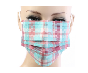 Light Blue Plaid Print Disposable Face Masks - 20 PACK