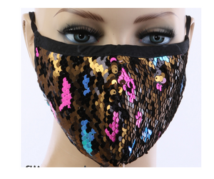Cheetah Print Sequin Mask w/ Filter