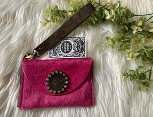 The Aubrey Wristlet in Pink - Upcycled LV