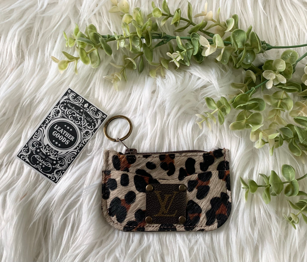 The Adeline Coin Purse in Leopard - Upcycled LV
