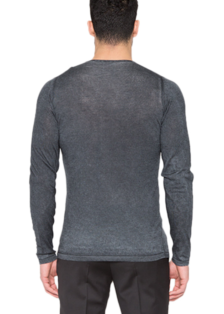 Silk Cashmere V-Neck in Charcoal-Ari Soho