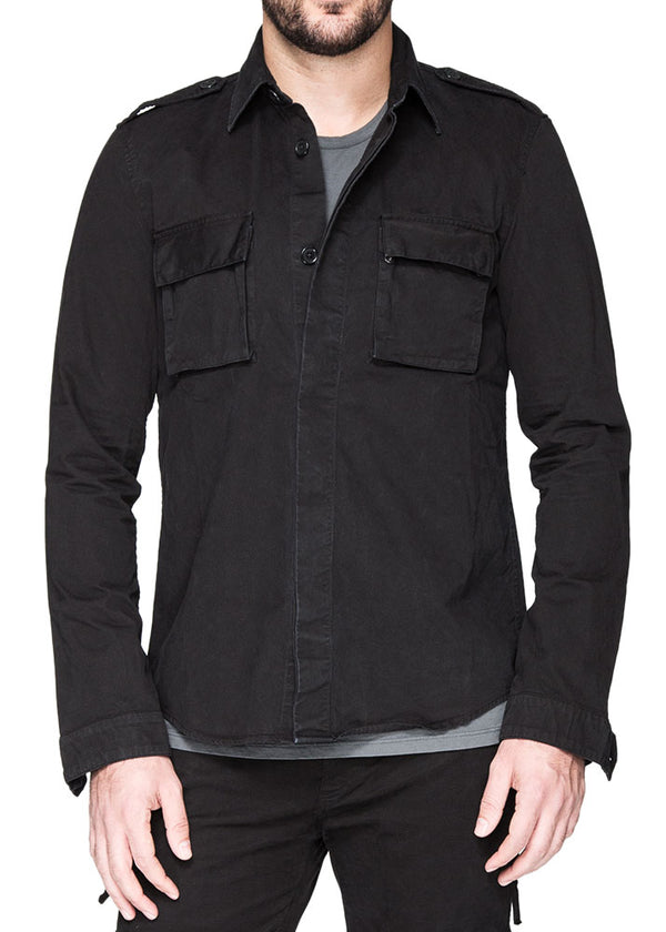 Military Shirt in Black-Ari Soho