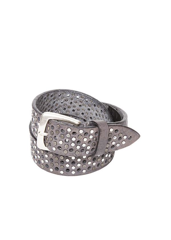 Grey Studded Leather Belt-Ari Soho