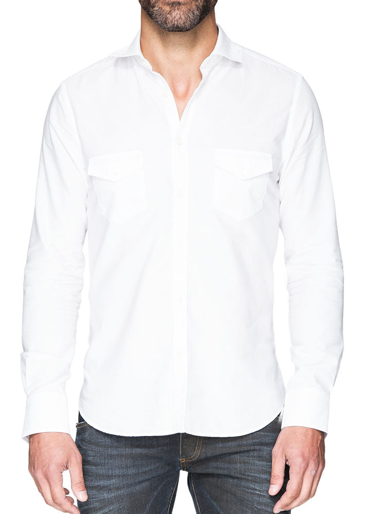 White Button Down With Pockets-Ari Soho