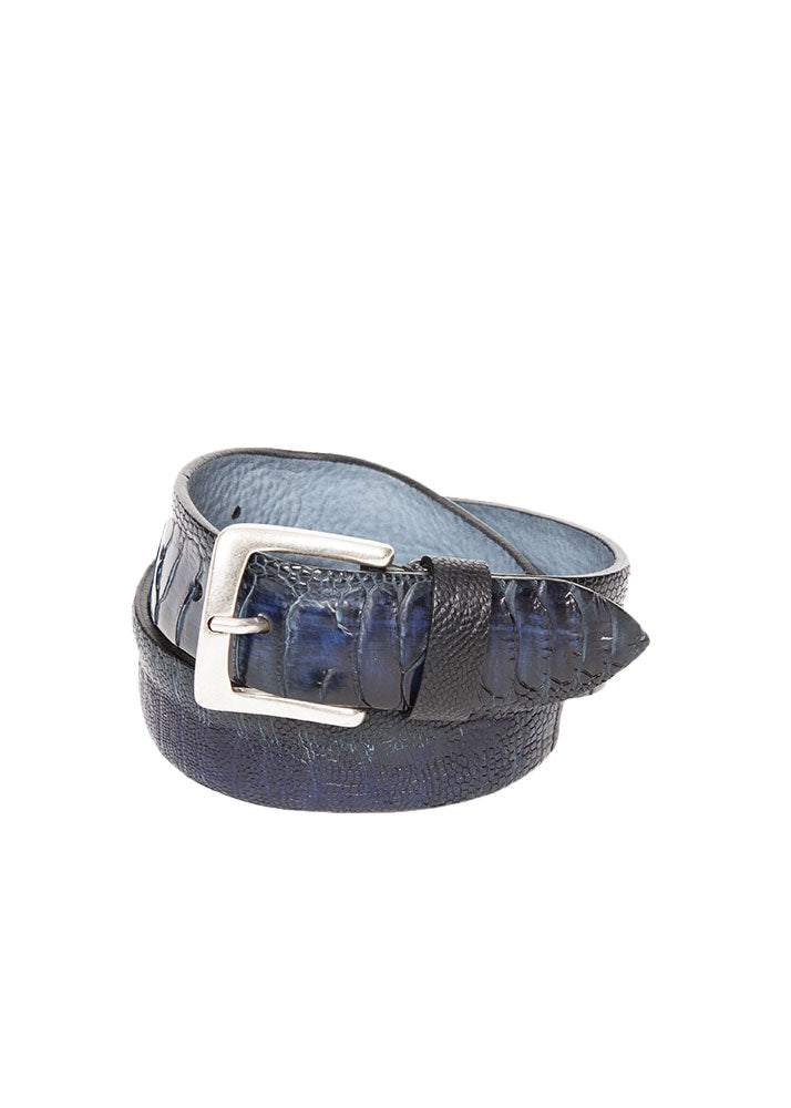 Blue Ostrich Leather Belt-Ari Soho