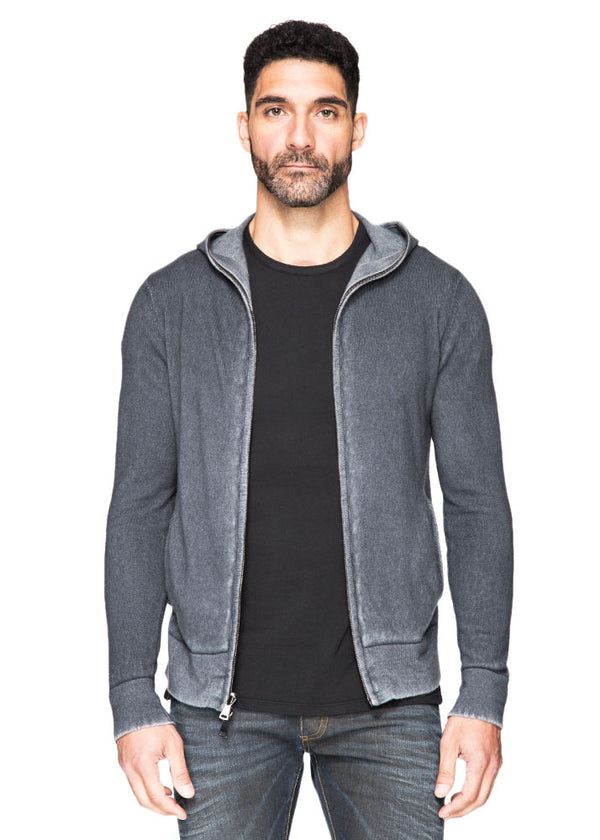 Reversible Cashmere Pull Over Hoodie in Derby Grey-Ari Soho