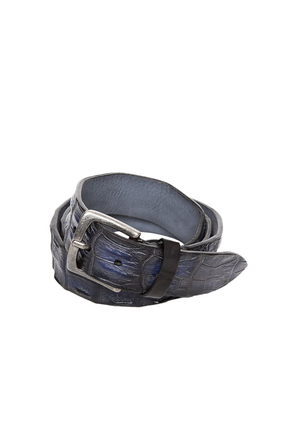 Blue Crocodile Leather Belt-Ari Soho