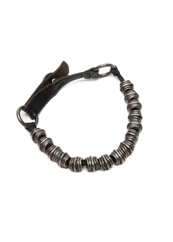 Sterling Silver and Leather Bracelet by GOTI-Ari Soho