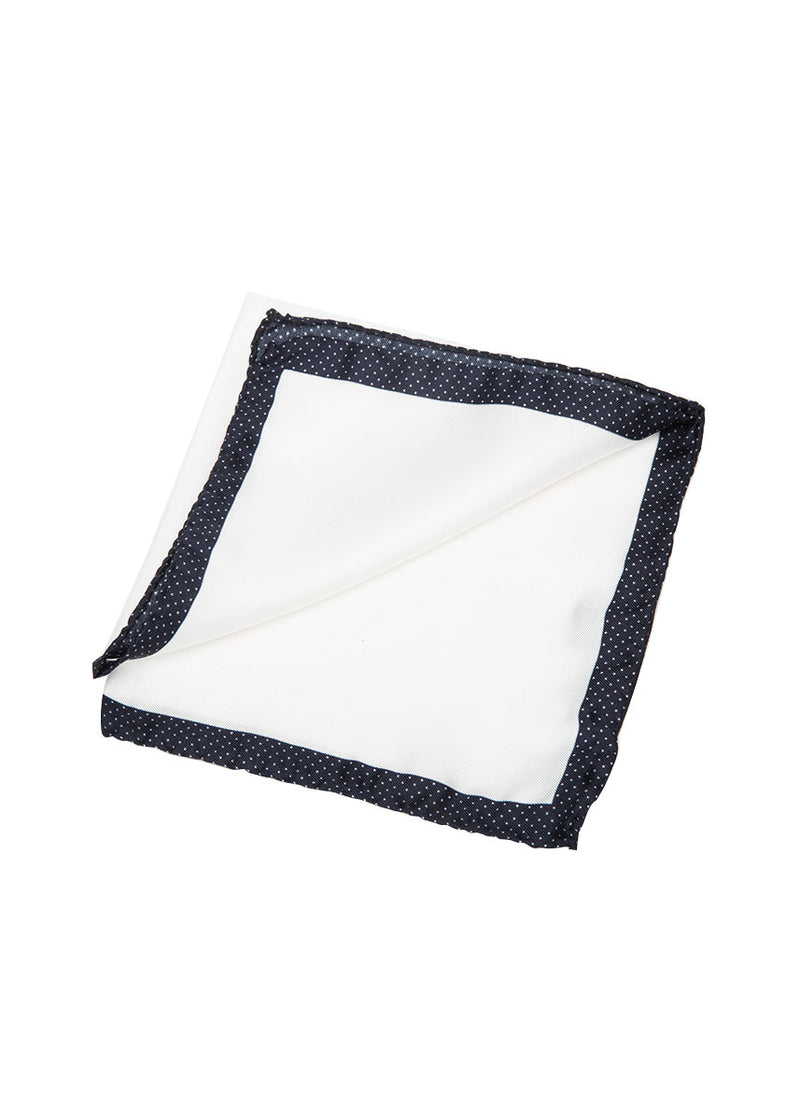 White Navy Pocket Square-Ari Soho