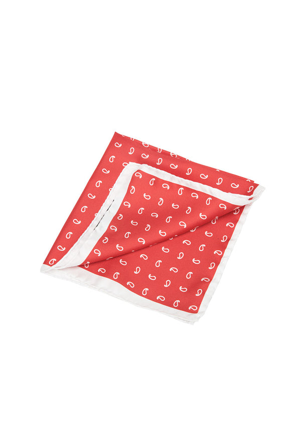 Red Paisley Pocket Square-Ari Soho