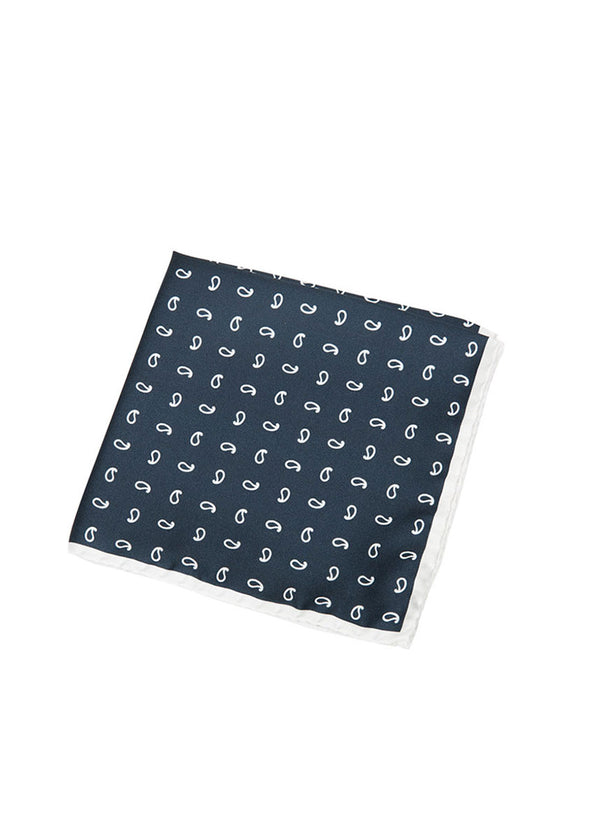 Navy Paisley Pocket Square-Ari Soho