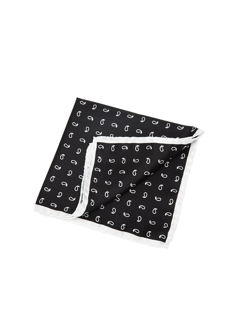 Black Paisley Pocket Square-Ari Soho