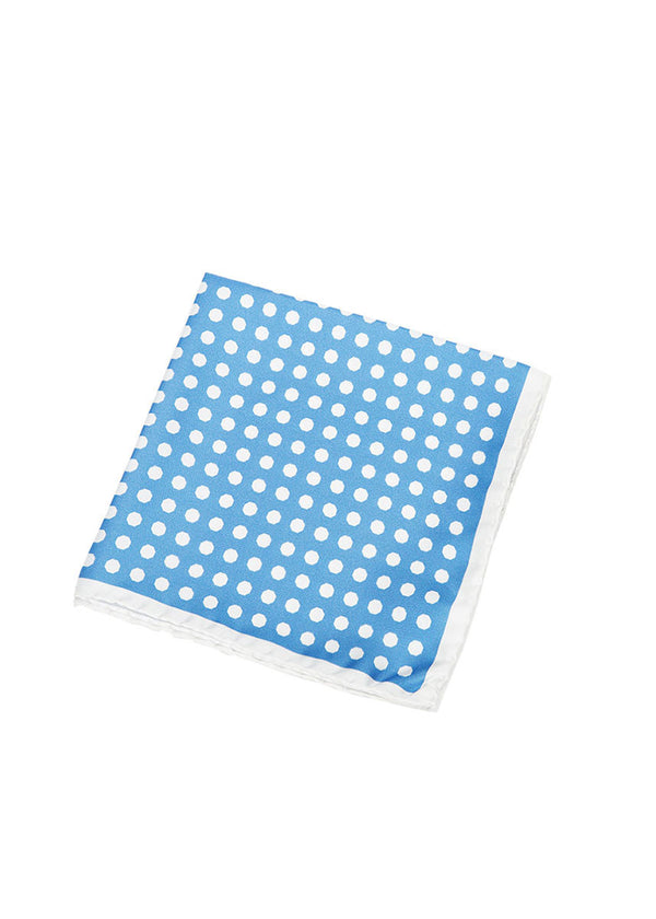 Light Blue Polka Dot Pocket Square-Ari Soho