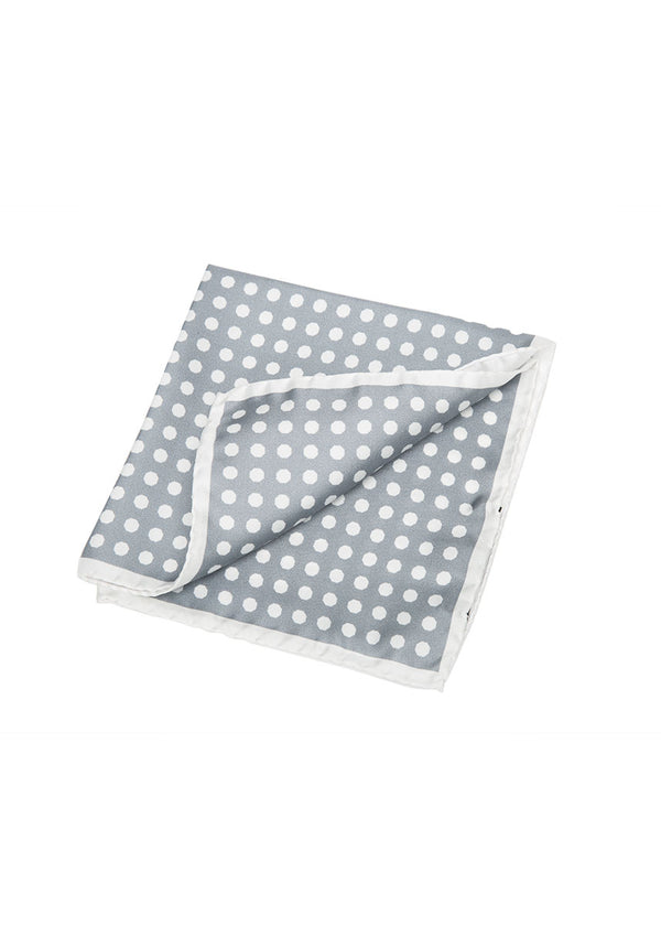 Grey Polka Dot Pocket Square-Ari Soho