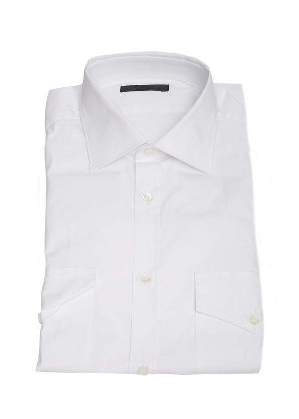 Stretch Pocket Button Down in White-Ari Soho