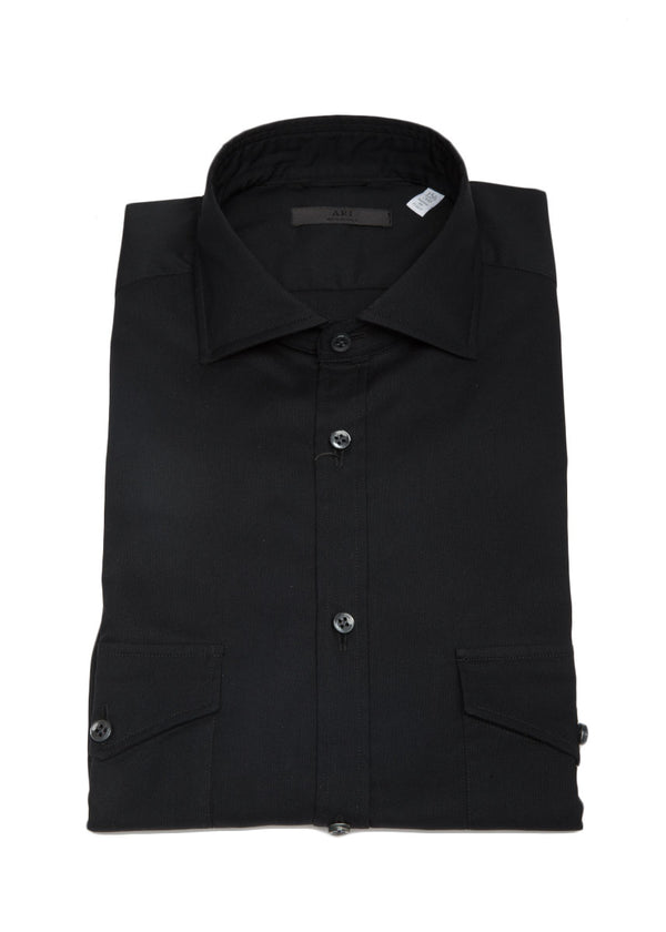 Stretch Pocket Button Down in Black-Ari Soho