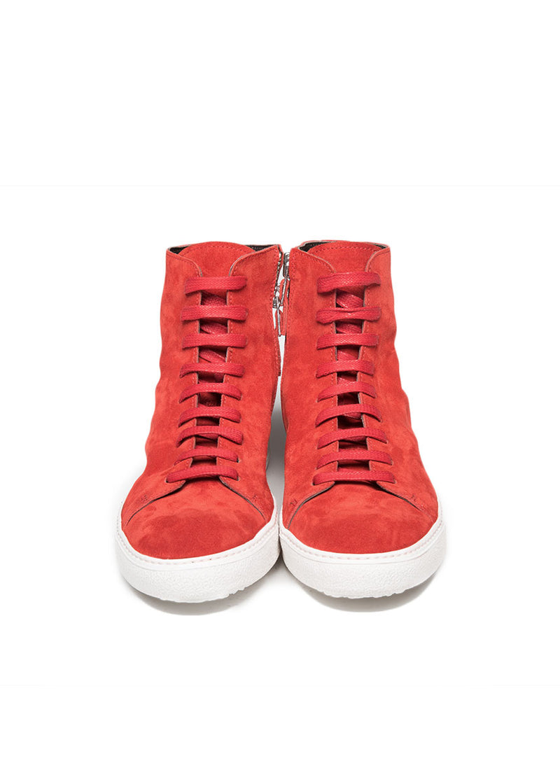 Mercer High Top Sneaker in Red Suede-Ari Soho