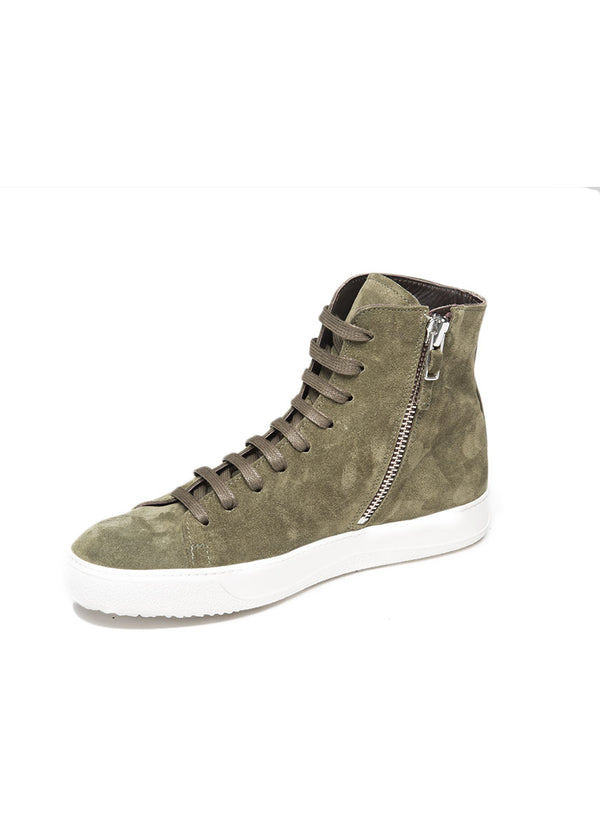 Mercer High Top Sneaker in Green Suede-Ari Soho