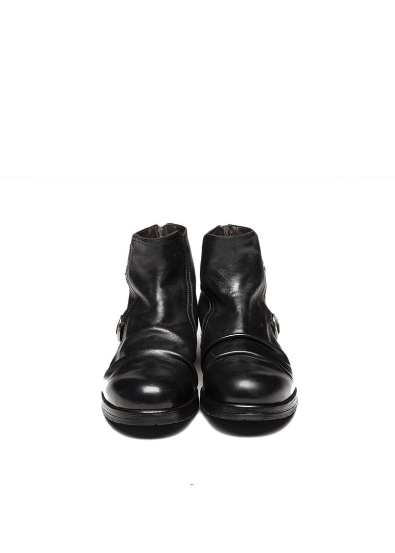 Black Leather Boot with Buckles-Ari Soho