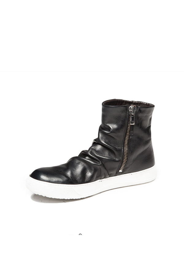 Black Folded Leather Sneaker-Ari Soho