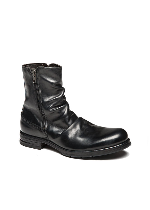 Black Folded Leather Boot-Ari Soho