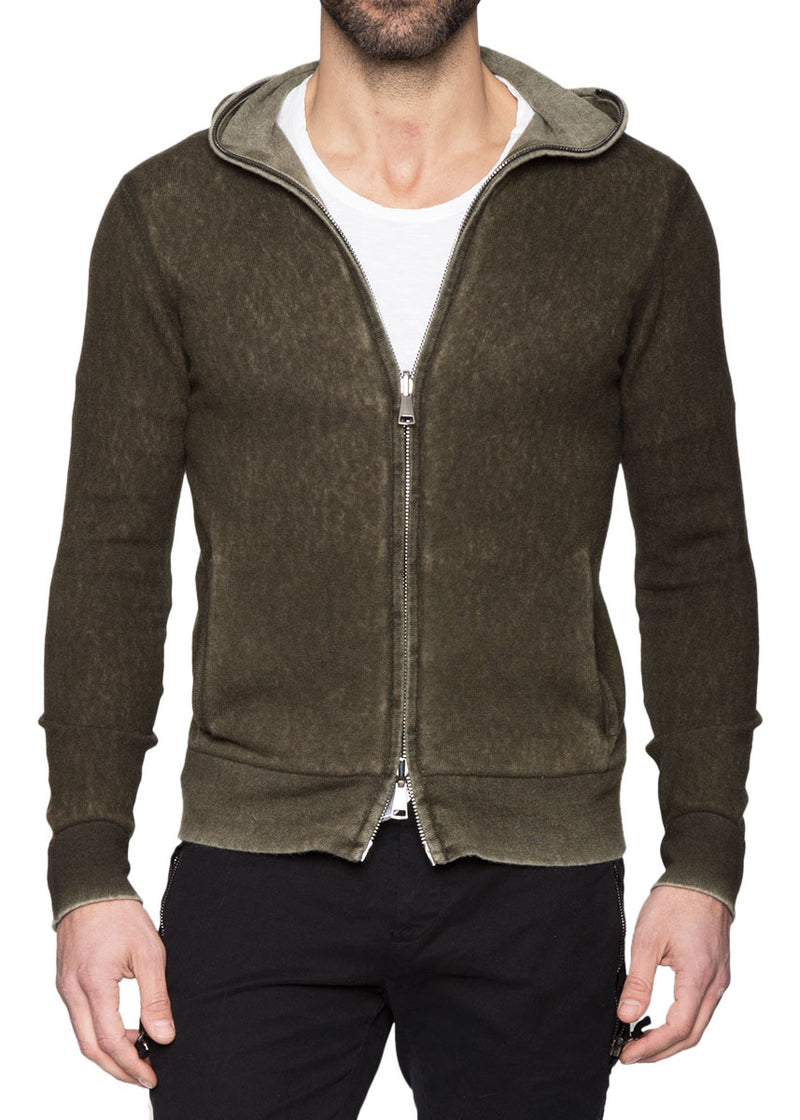 Dark Green Reversible Cashmere Zip Up Hoodie-Ari Soho