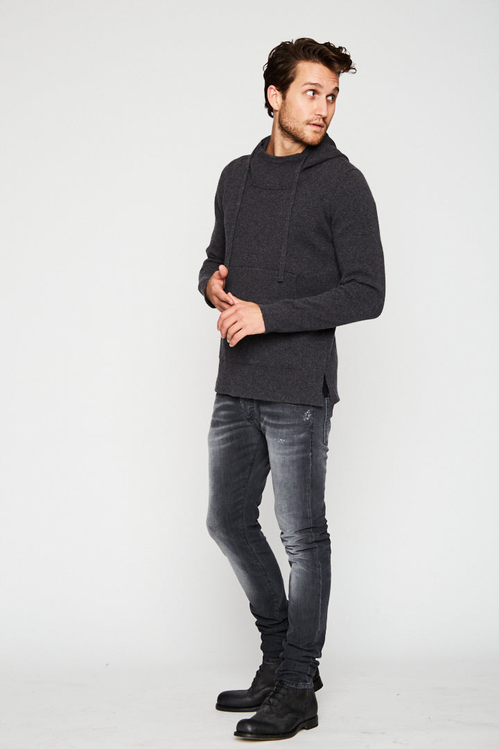 CASHMERE SWEATER HOODIE IN CHARCOAL-Ari Soho