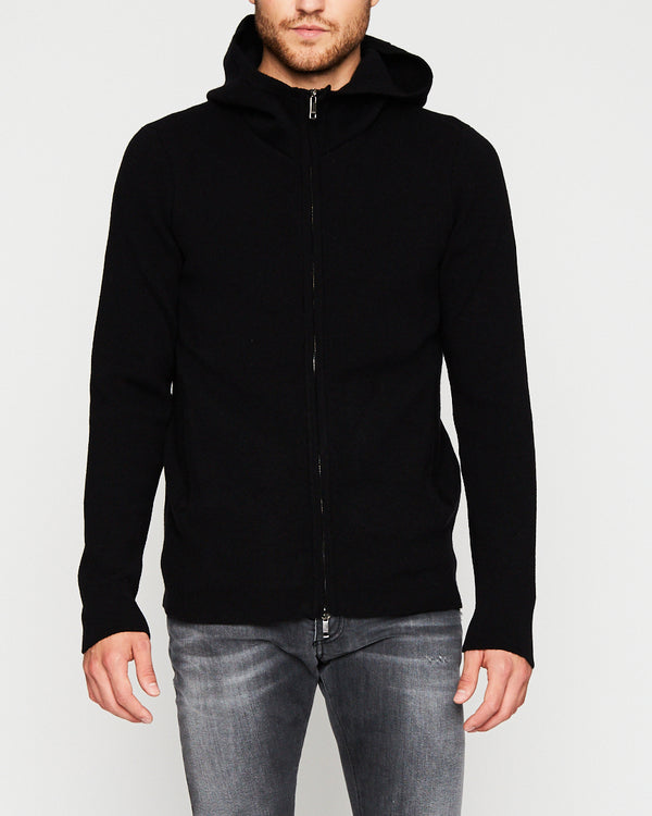 BLACK CASHMERE PULLOVER HOODIE WITH ZIPPER-Ari Soho